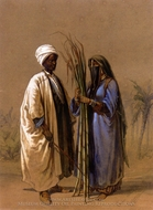 An Egyptian Man and His Wife painting reproduction, Amedeo Preziosi