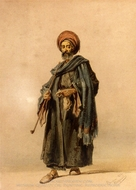 An Egyptian Man with a Pipe painting reproduction, Amedeo Preziosi