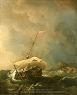 An English Ship in a Gale Trying to Claw off a Lee Shore painting reproduction, Willem Van De Velde