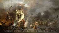 An English Ship in Action with Barbary Vessels painting reproduction, Willem Van De Velde, The Elder