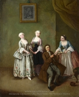 An Interior with Three Women and a Seated Man painting reproduction, Pietro Longhi