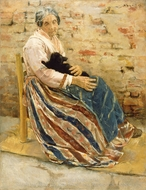 An Old Woman with Cat painting reproduction, Max Liebermann