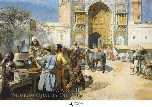 Edwin Lord Weeks, An Open-Air Restaurant, Lahore oil painting reproduction