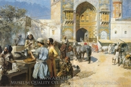 An Open-Air Restaurant, Lahore painting reproduction, Edwin Lord Weeks