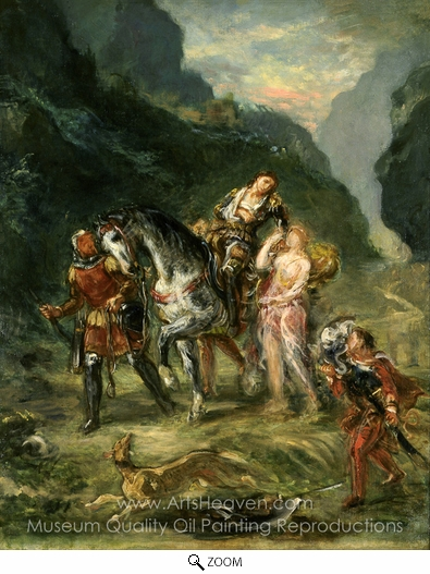 Eugene Delacroix, Angelica and the Wounded Medoro oil painting reproduction