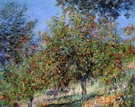 Apple Trees on the Chantemesle Hill painting reproduction, Claude Monet