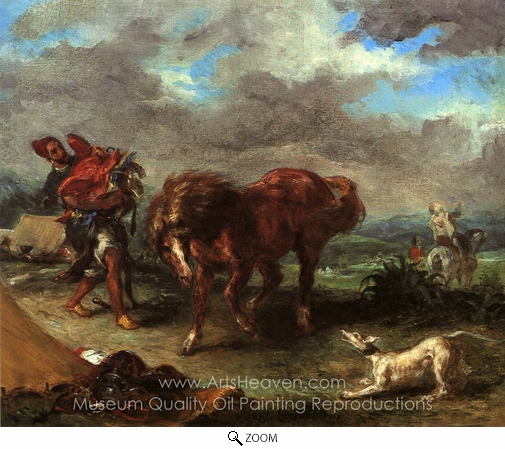 Eugene Delacroix, Arab About To Saddle His Horse oil painting reproduction