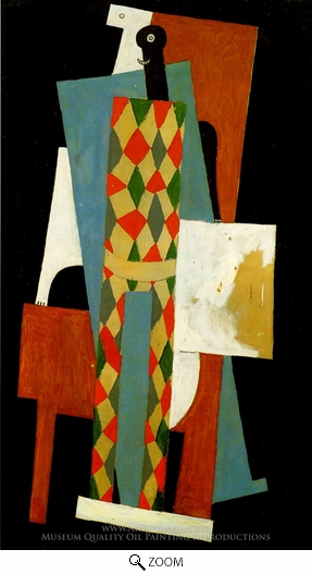 Pablo Picasso (inspired by), Arlequin oil painting reproduction