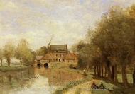 Arleux-du-Nord, the Drocourt Mill on the Sensee painting reproduction, Jean-Baptiste Camille Corot