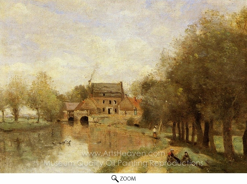 Jean-Baptiste Camille Corot, Arleux-du-Nord, the Drocourt Mill on the Sensee oil painting reproduction