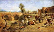 Arrival of a Caravan Outside the City of Morocco painting reproduction, Edwin Lord Weeks