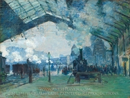 Arrival of the Normandy Train, Gare Saint-Lazare painting reproduction, Claude Monet