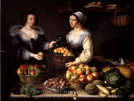 At the Greengrocer painting reproduction, Louise Moillon