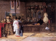 At the Japanese Market painting reproduction, Edouard Castres