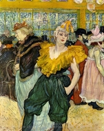 At the Moulin Rouge: the Clowness Chau-U-Keo painting reproduction, Henri De Toulouse-Lautrec