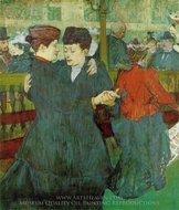 At the Moulin Rouge: Two Women Waltzing painting reproduction, Henri De Toulouse-Lautrec