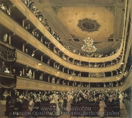 At the Opera Theatre painting reproduction, Gustav Klimt