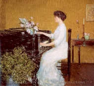 At the Piano painting reproduction, Childe Hassam