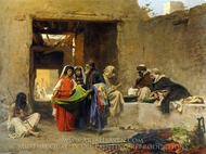 At the Souk painting reproduction, Eugene Alexis Girardet