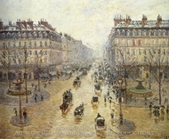 Avenue de l'Opera: Snow Effect painting reproduction, Camille Pissarro