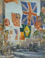Avenue of the Allies, Great Britain, 1918 painting reproduction, Childe Hassam
