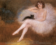 Ballerina with a Black Cat painting reproduction, Pierre Carrier-Belleuse