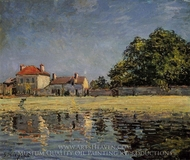 Banks of the Loing, Saint-Mammes painting reproduction, Alfred Sisley