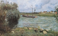 Banks of the Oise, the Countryside Near Pontoise painting reproduction, Camille Pissarro