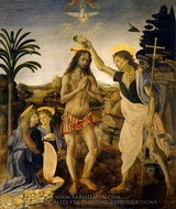 Baptism of Christ painting reproduction, Leonardo Da Vinci