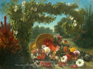 Basket of Flowers painting reproduction, Eugene Delacroix