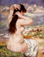 Bather Arranging her Hair painting reproduction, Pierre-Auguste Renoir