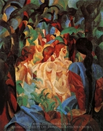 Bathing Girls with Town in the Background painting reproduction, August Macke