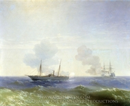 Battle of Steamer Vesta painting reproduction, Ivan Aivazovskiy