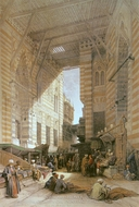 Bazaar of El Gooreyeh painting reproduction, David Roberts