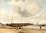 Beach with a Weyschuit Pulled up on Shore painting reproduction, Willem Van De Velde