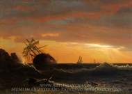 Beached Ship painting reproduction, Albert Bierstadt