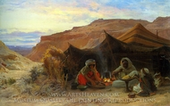 Bedouins in the Desert painting reproduction, Eugene Alexis Girardet