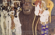 Beethoven Frieze painting reproduction, Gustav Klimt