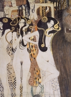 Beethoven Frieze - Die Gorgonen und Typhoeus painting reproduction, Gustav Klimt