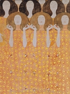 Beethovenfries - Chor der Paradiesengel painting reproduction, Gustav Klimt