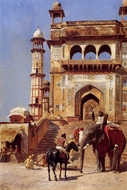 Before a Mosque 1883 painting reproduction, Edwin Lord Weeks