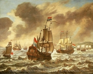 Before the Battle of the Downs, 21 October 1639, Showing Tromp's Flagship Amelia painting reproduction, Reinier Nooms
