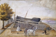 Berg's Ship Yard painting reproduction, William P. Chappel