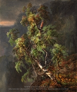 Birch Tree in a Storm painting reproduction, Johan Christian Dahl