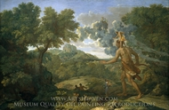 Blind Orion Searching for the Rising Sun painting reproduction, Nicolas Poussin