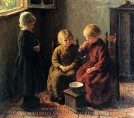 Blowing Bubbles painting reproduction, Edward Potthast