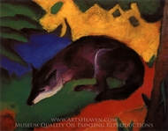Blue Black Fox painting reproduction, Franz Marc