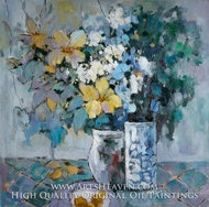 Blue Round Vase and Flowers painting reproduction, Various Artist