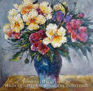 Blue Round Vase with Gorgeous Flowers painting reproduction, Various Artist