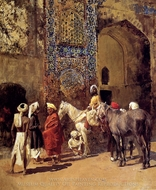 Blue-Tiled Mosque at Delhi, India painting reproduction, Edwin Lord Weeks